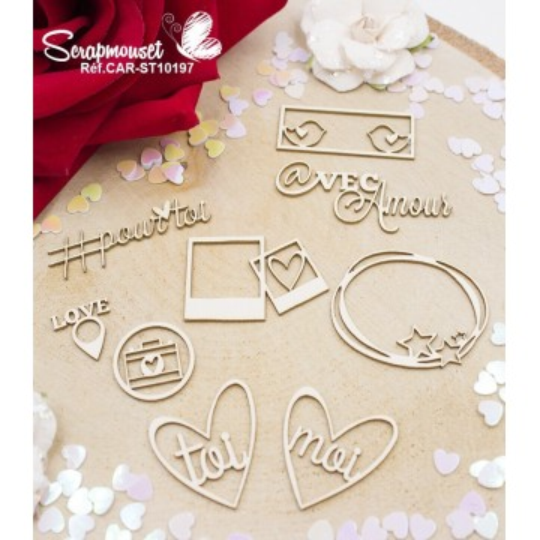Embellissements Saint Valentin design en carton bois de Scrapmouset