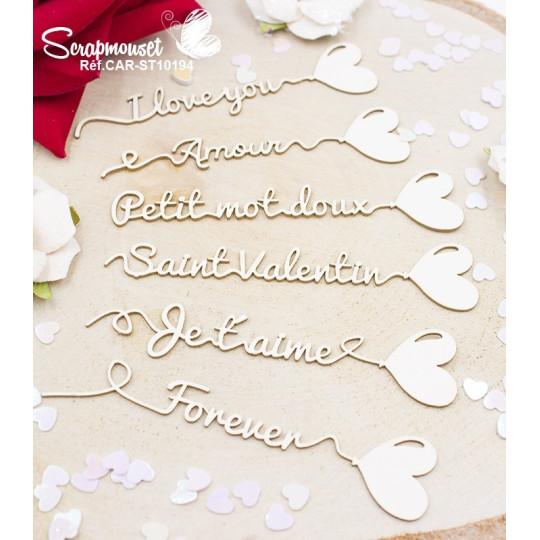 Embellissements Ballons messages d'amour en carton bois de Scrapmouset