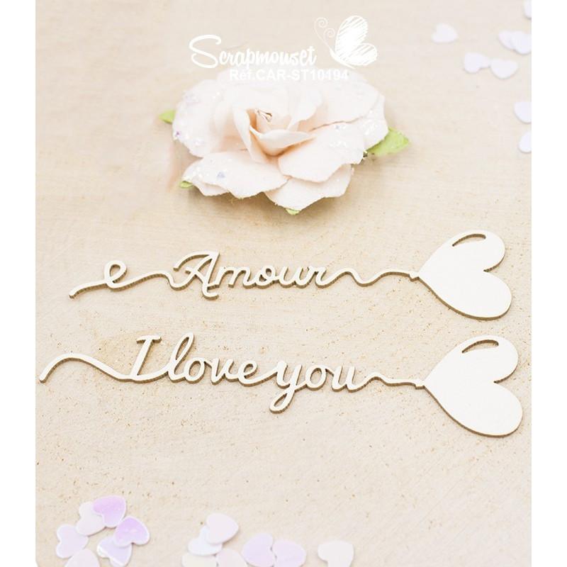 Embellissements petits messages ballon forme coeur Scrapmouset