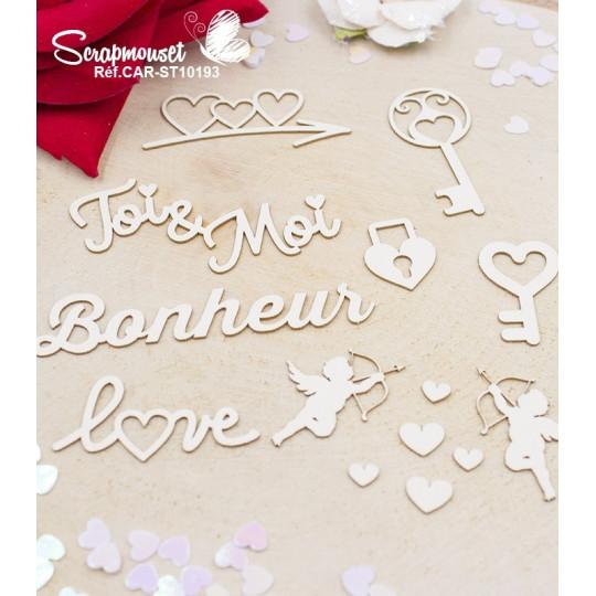 Embellissements Bonheur et cupidons en carton bois de Scrapmouset