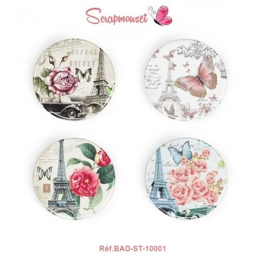 "Lot 4 badges 25 mm ""Paris vintage"" de Scrapmouset"