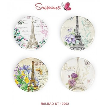 "4 Badges 25 mm ""Vintage Romance Paris"" Scrapmouset"