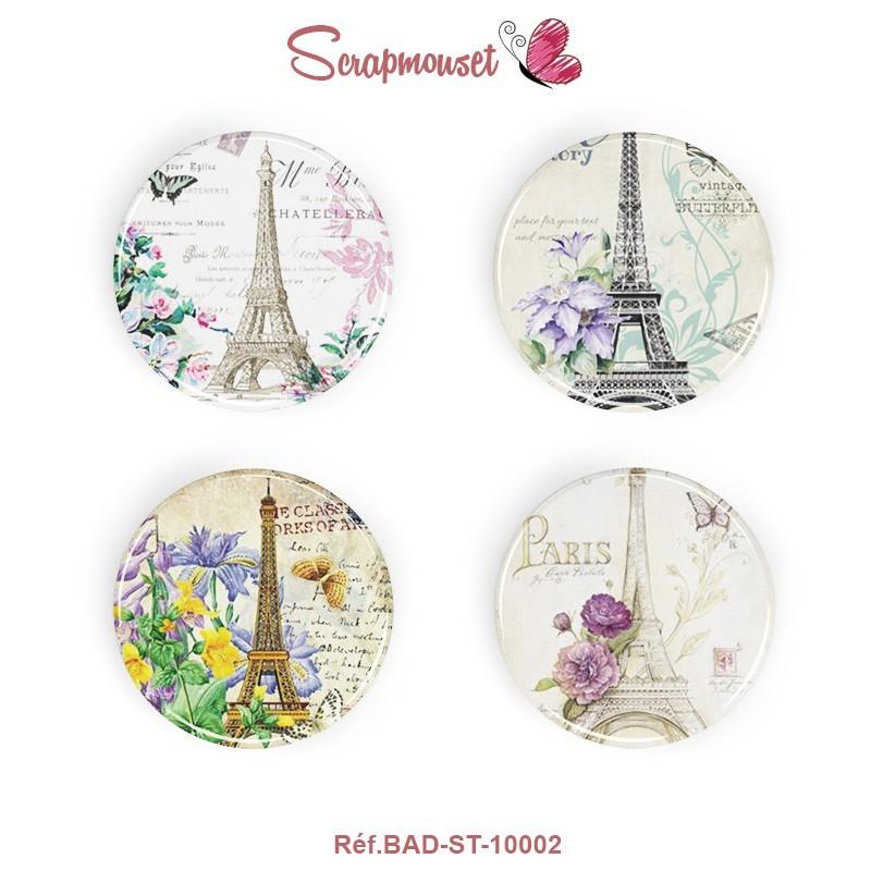 """4 Badges 25 mm """"Vintage Romance Paris"""" Scrapmouset"""