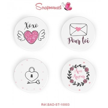 "4 Badges 25 mm ""Saint Valentin"" Scrapmouset"