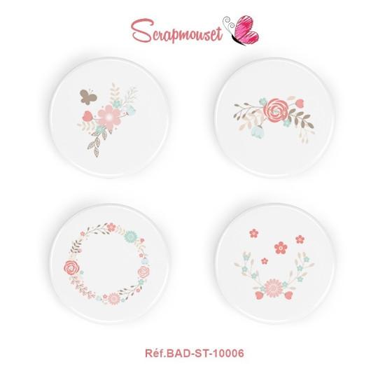 """Lot 4 badges 25 mm """"Fleurs shabby"""" de Scrapmouset"""