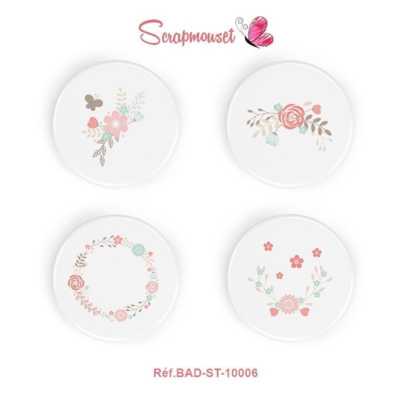"4 Badges 25 mm ""Petites fleurs"" Scrapmouset"