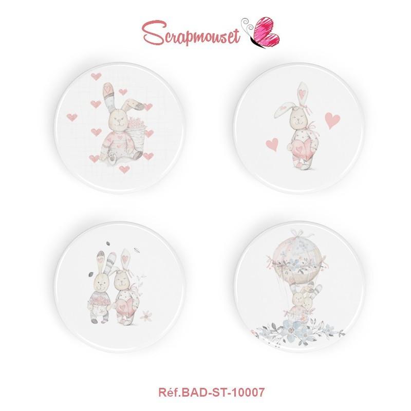 """4 Badges 25 mm """"Lapinous romantiques"""" Scrapmouset"""