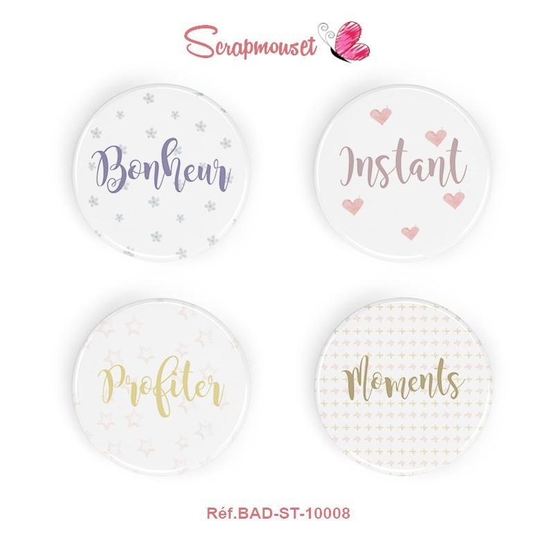 """4 Badges 25 mm """"Mon Bonheur à moi"""" Scrapmouset"""