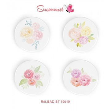 "Lot 4 badges 25 mm ""Bouquets de pivoines"" de Scrapmouset"