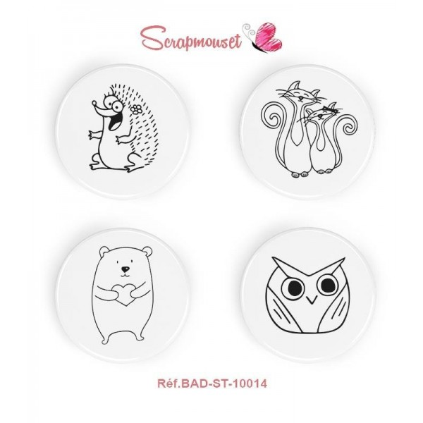 "Lot de 4 badges 25 mm ""Animaux rigolos Noir & Blanc"" de Scrapmouset"