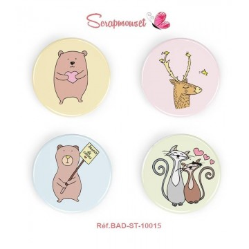 "Lot de 4 badges 25 mm ""Animaux Rigolos en couleurs"" de Scrapmouset"