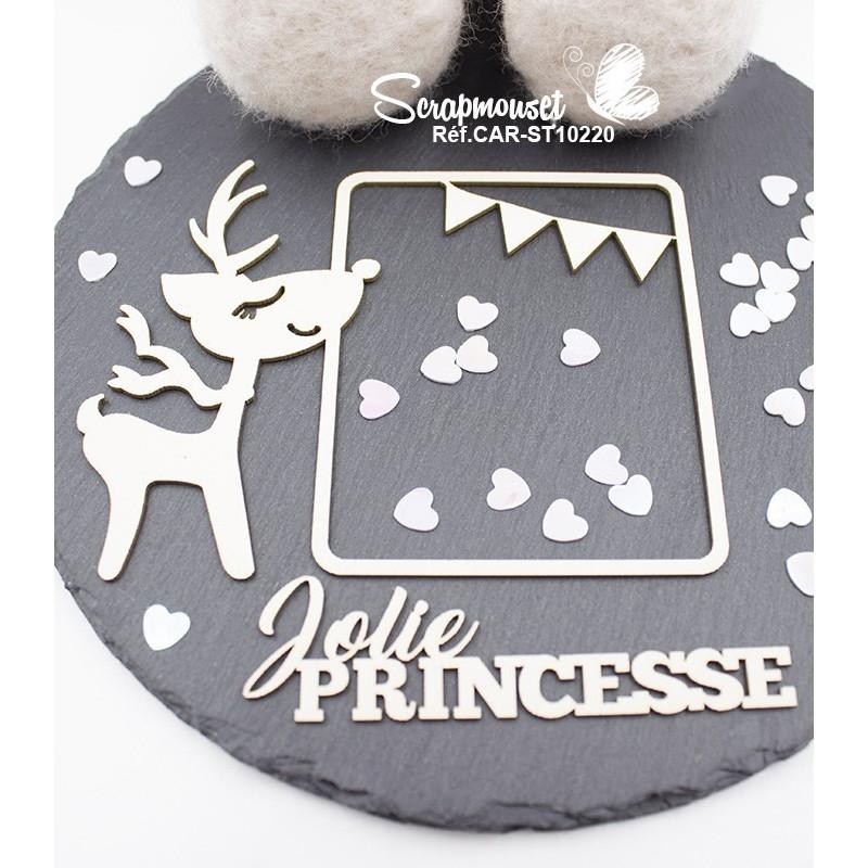 Embellissement scrap cadre enfant renne et petite princesse de Scrapmouset