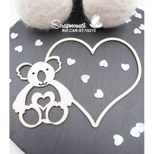 Embellissement scrap cadre coeur koala de Scrapmouset