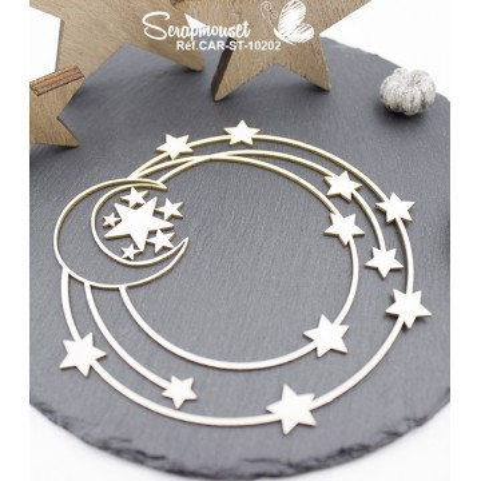 Embellissement scrap cadre lune et étoiles Scrapmouset