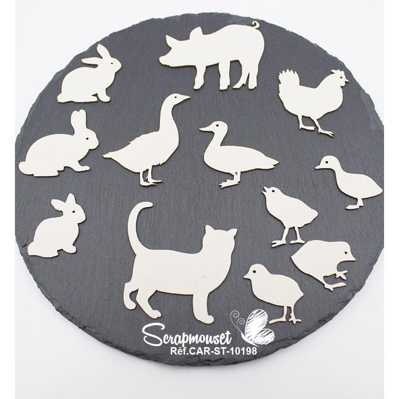 Embellissements animaux de la ferme en carton bois de Scrapmouset