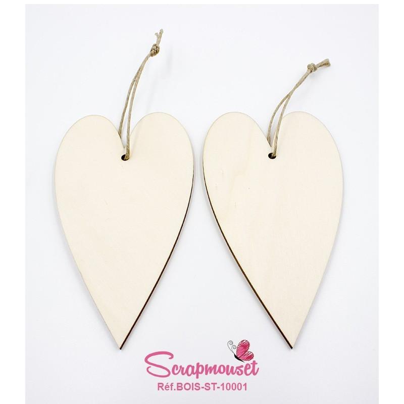 Lot de 2 Coeurs en bois à suspendre et à customiser