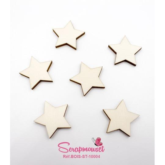 Lot de 20 petites étoiles en bois