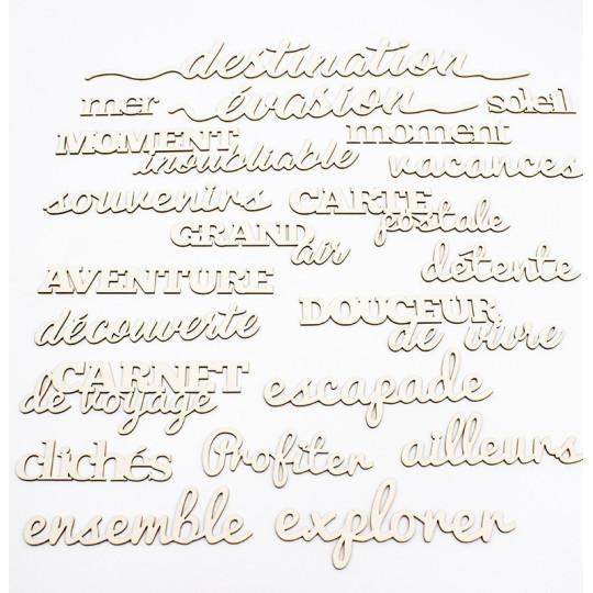 """Mots et expressions en carton bois thème """"Voyage & vacances"""""""
