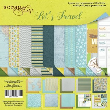 "Set de 10 papiers scrapbooking collection ""Let's travel"" de Scrapmir"