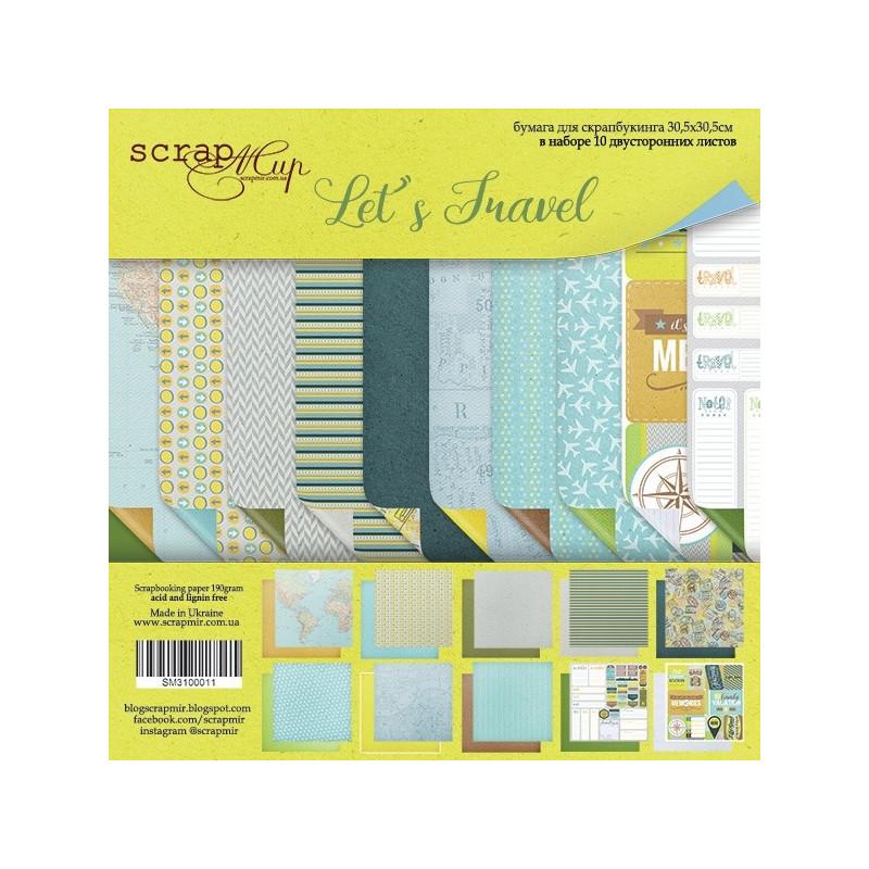 "Set de 10 papiers scrapbooking collection ""Let's travel"" de Scrapmir"