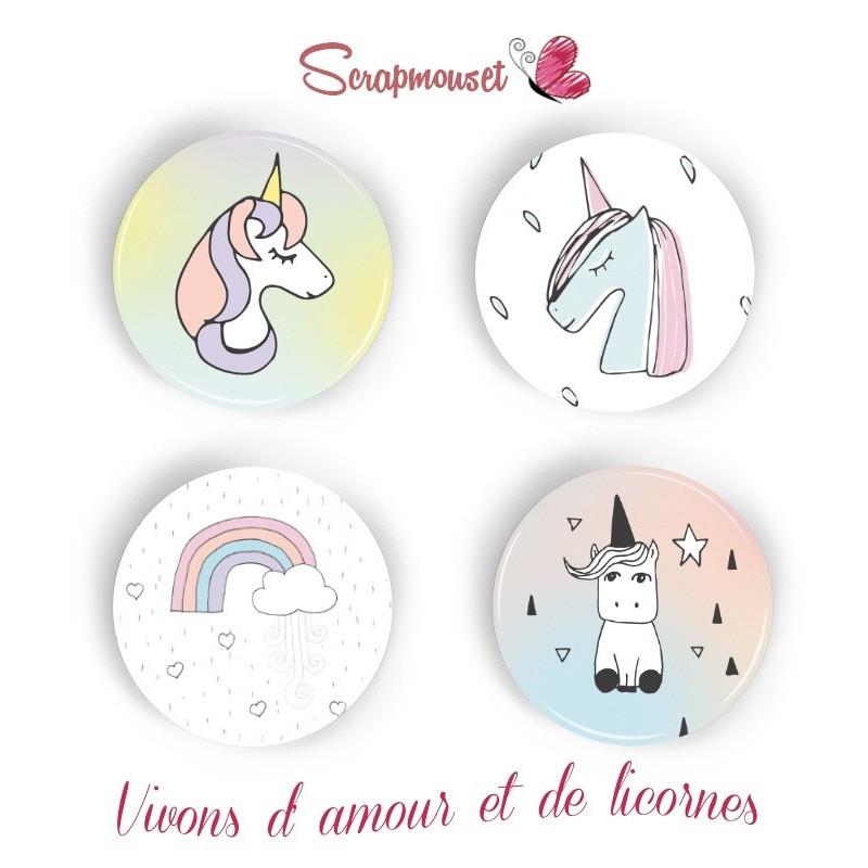 "Lot de 4 badges 25 mm ""Licornes"" de Scrapmouset"