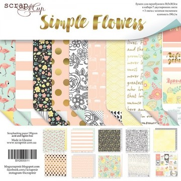 "Set de 10 papiers scrapbooking collection ""Simple Flowers"" de Scrapmir"