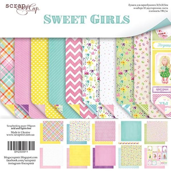 """Set de 10 papiers scrapbooking collection """"Sweet Girls"""" de Scrapmir"""