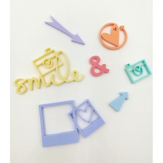 Embellissements en Acrylique aux couleurs pastels - Thème Smile