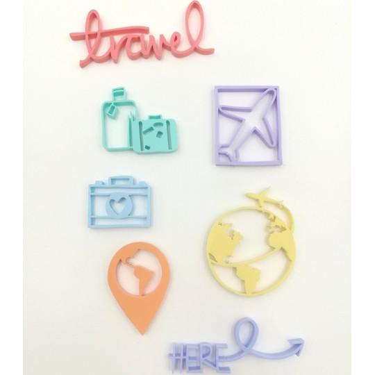 Embellissements en Acrylique aux couleurs pastels - Thème Travel