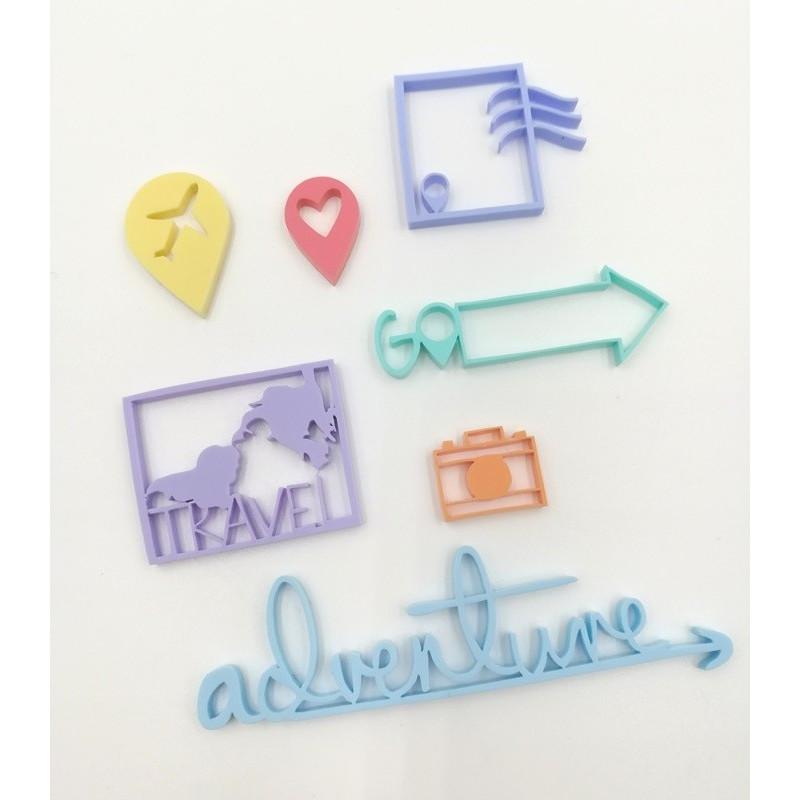Embellissements en Acrylique aux couleurs pastels - Thème Adventure