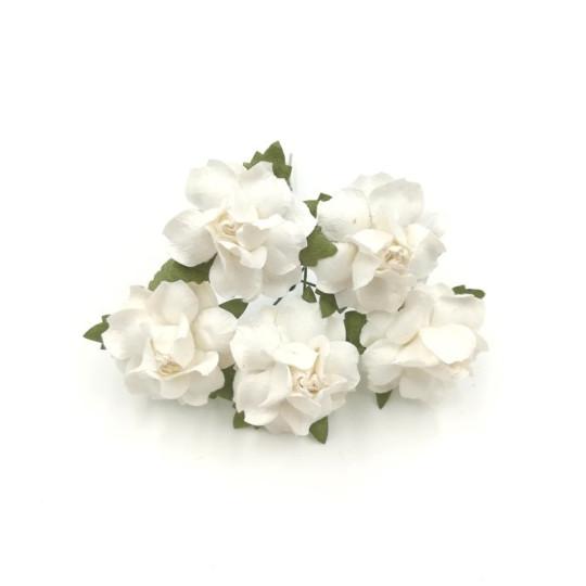 """Roses dentelées 2,5 cm """"Blanc"""" en papier mûrier"""