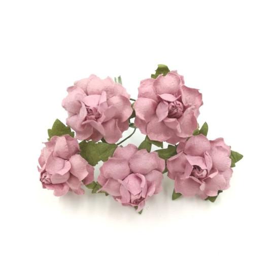 """Roses dentelées 2,5 cm """"Vieux rose"""" en papier mûrier"""