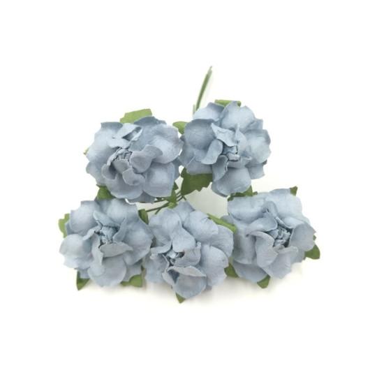 """Roses dentelées 2,5 cm """"Bleu ciel"""" en papier mûrier"""