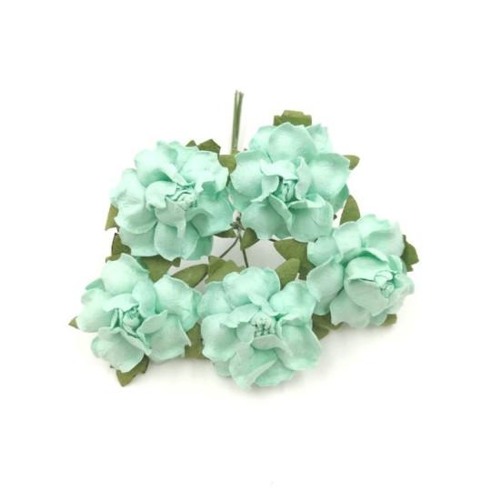 """Roses dentelées 2,5 cm """"Menthe"""" en papier mûrier"""