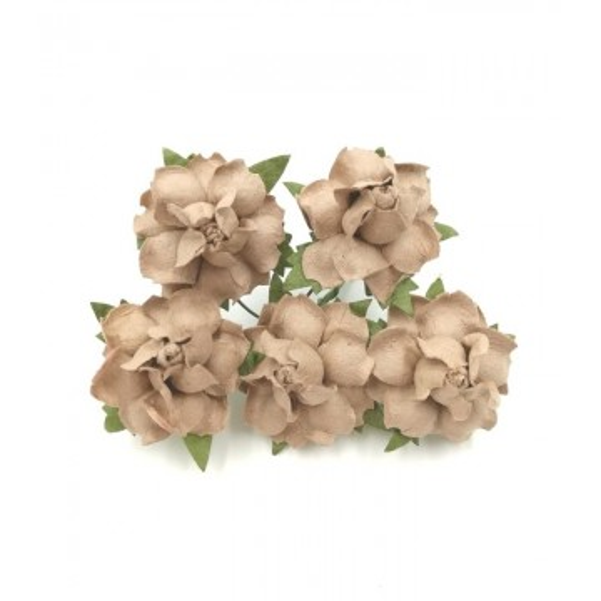 """Roses dentelées 2,5 cm """"Taupe"""" en papier mûrier"""