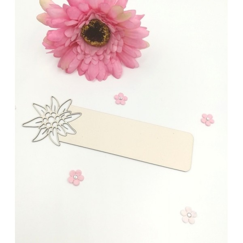 "Marque-page en carton bois Scrapmouset ""Edelweiss"""
