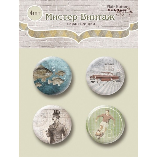 "Lot de 4 badges  collection ""Monsieur Vintage"" de Scrapmir"