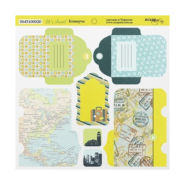 "Papier enveloppes 20 x 20 ""Let's Travel"" de Scrapmir"