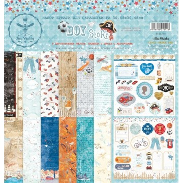 "Set 8 papiers collection ""Boy Story"" de Bee Shabby"