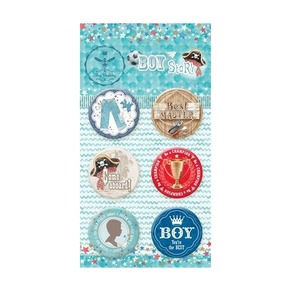 "Lot 6 badges ""Boy Story"" de Bee Shabby"
