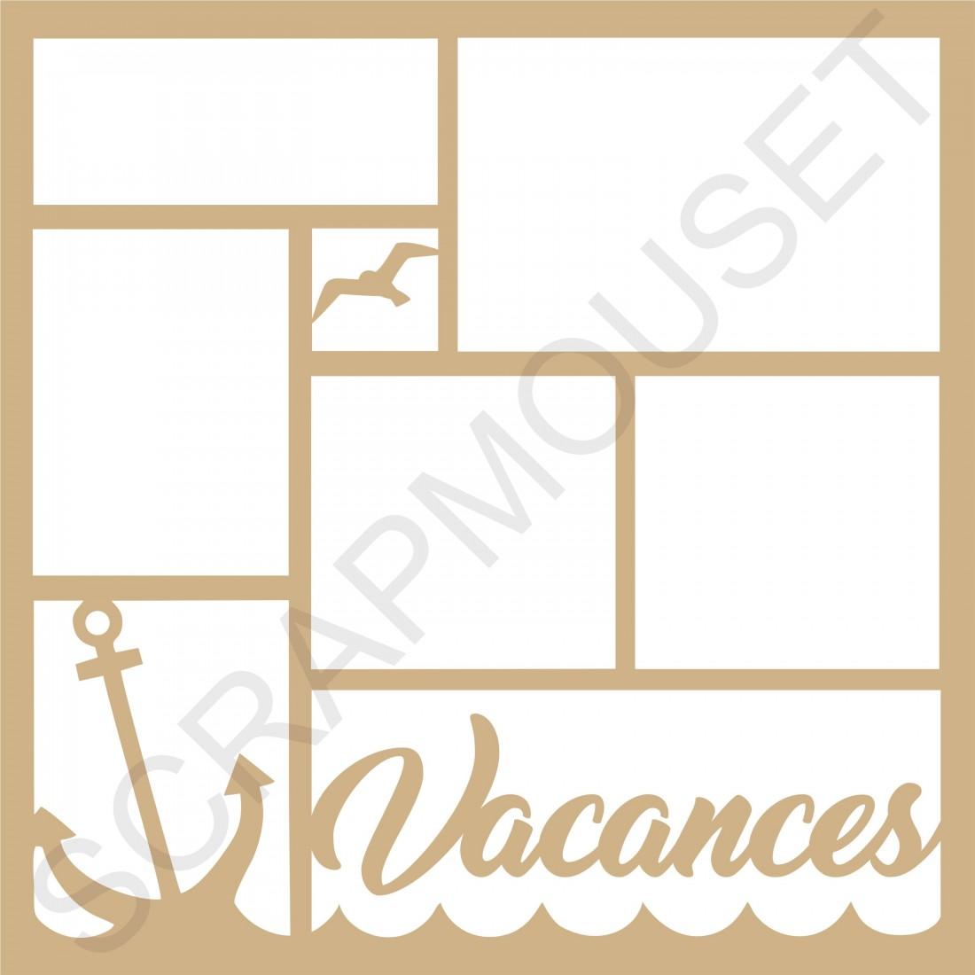 cadre photos bois 27 x 27 cm customiser vacances la mer de scrapmouset. Black Bedroom Furniture Sets. Home Design Ideas