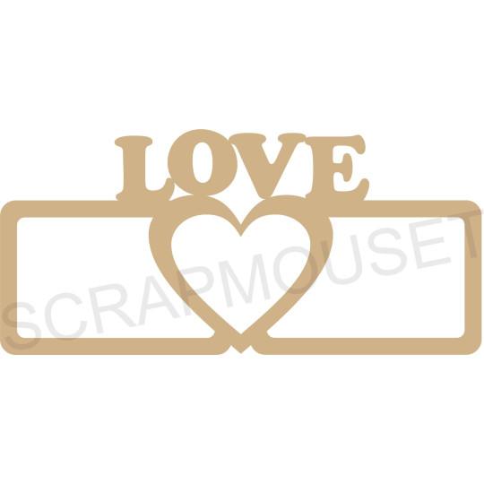 Cadre photos bois 21x 10 cm à customiser -  coeur love