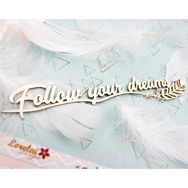 Mots en Carton bois - Follow your dreams - 15 x 2.9 cm