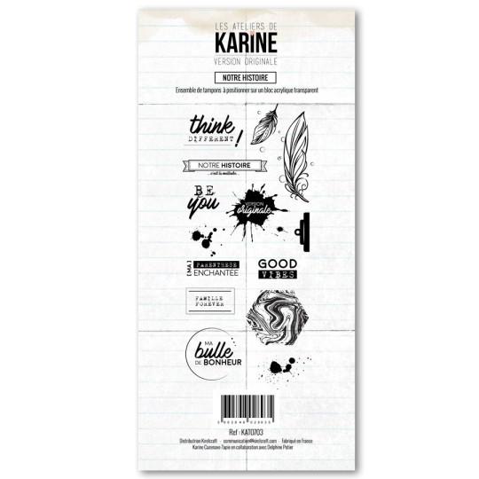 """Set de 14 tampons clear """"Notre histoire - version originale"""" de """"Les ateliers de Karine"""""""