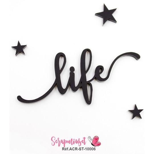 """Mot """"life"""" en Acrylique Noir 7,5 x 3,3 cm - Scrapmouset"""