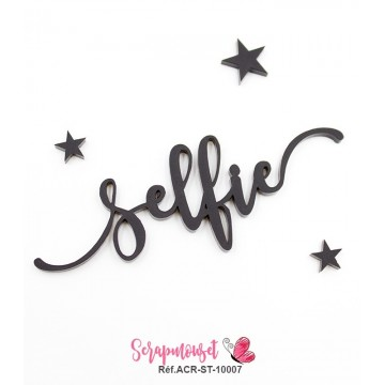 """Mot """"selfie"""" en Acrylique Noir 9,3 x 3,3 cm  - Scrapmouset"""