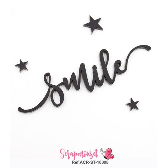 """Mot """"smile"""" en Acrylique - couleur noire"""