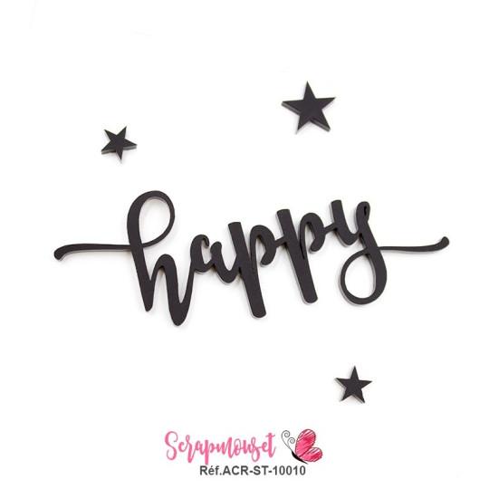 """Mot """"happy"""" en Acrylique Noir 9,6 x 4,1 cm - Scrapmouset"""