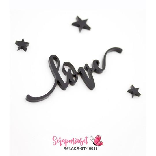 """Mot """"love"""" en Acrylique Noir 8 x 3 cm - Scrapmouset"""