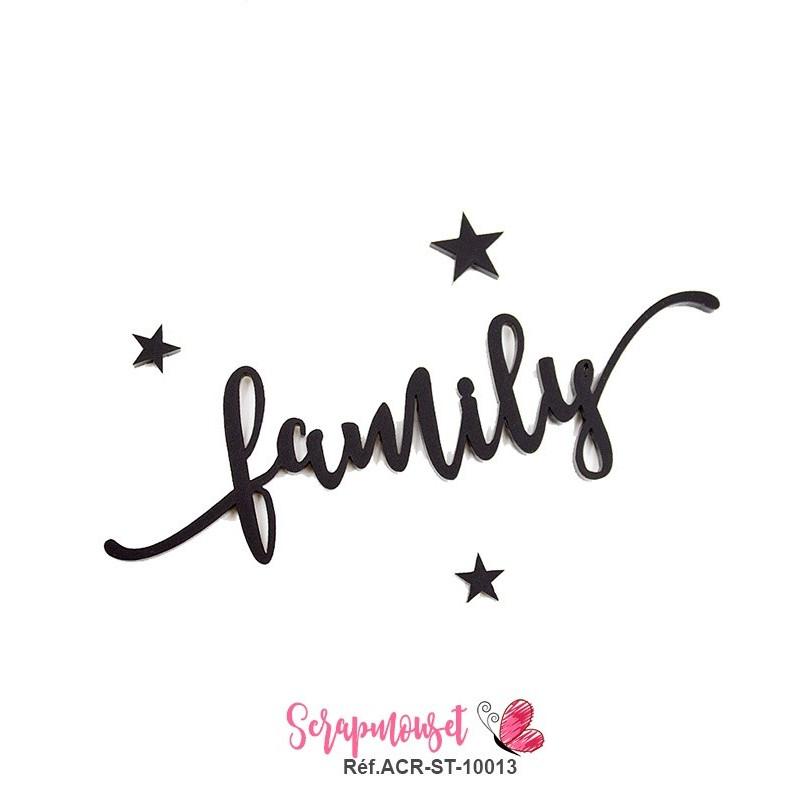 """Mot """"family"""" en Acrylique - couleur noire"""